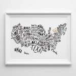 "8X10"" Usa Map Print   United States Map   Typography Map   Us Map 