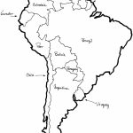 A Printable Map Of South America Labeled With The Names Each Outline | Printable Map Of Latin American Countries