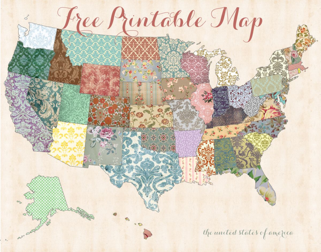 Becky, How Cute Is This Free Printable Map? I Thought Of You | Pretty Printable Us Map