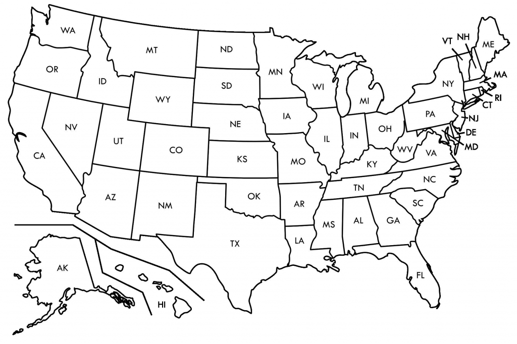 Black And White Map Us States Usa50Statebwtext Inspirational Best | Printable Map Of The United States In Black And White