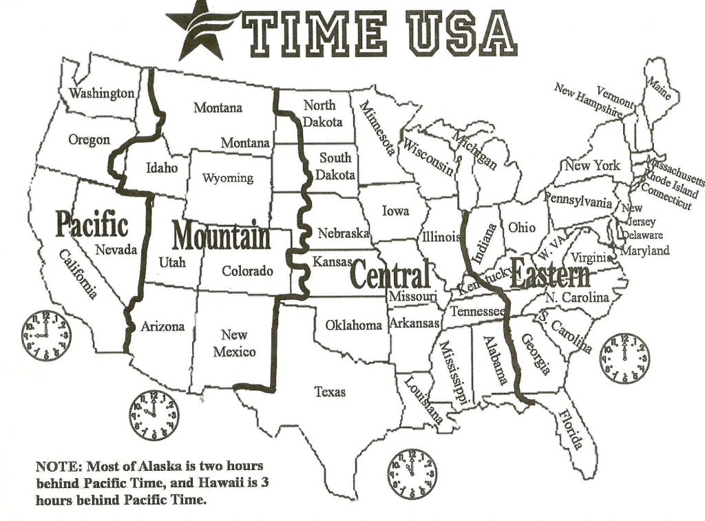 Black And White Us Time Zone Map - Google Search | Social Studies | Printable Us Map Black And White