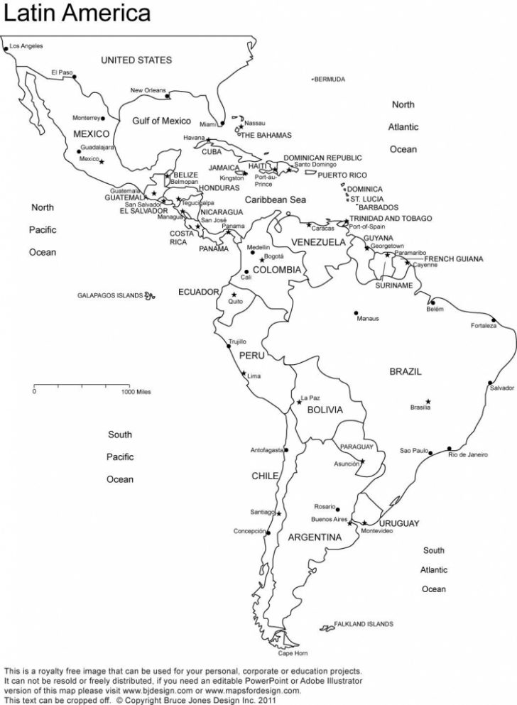 Printable Map Of Latin American Countries