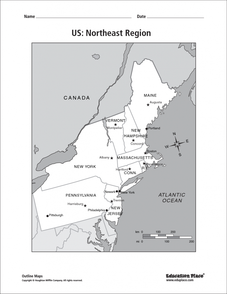 Blank Map Of The Northeast Region Of The United States And Travel | Printable Blank Map Of Northeastern United States