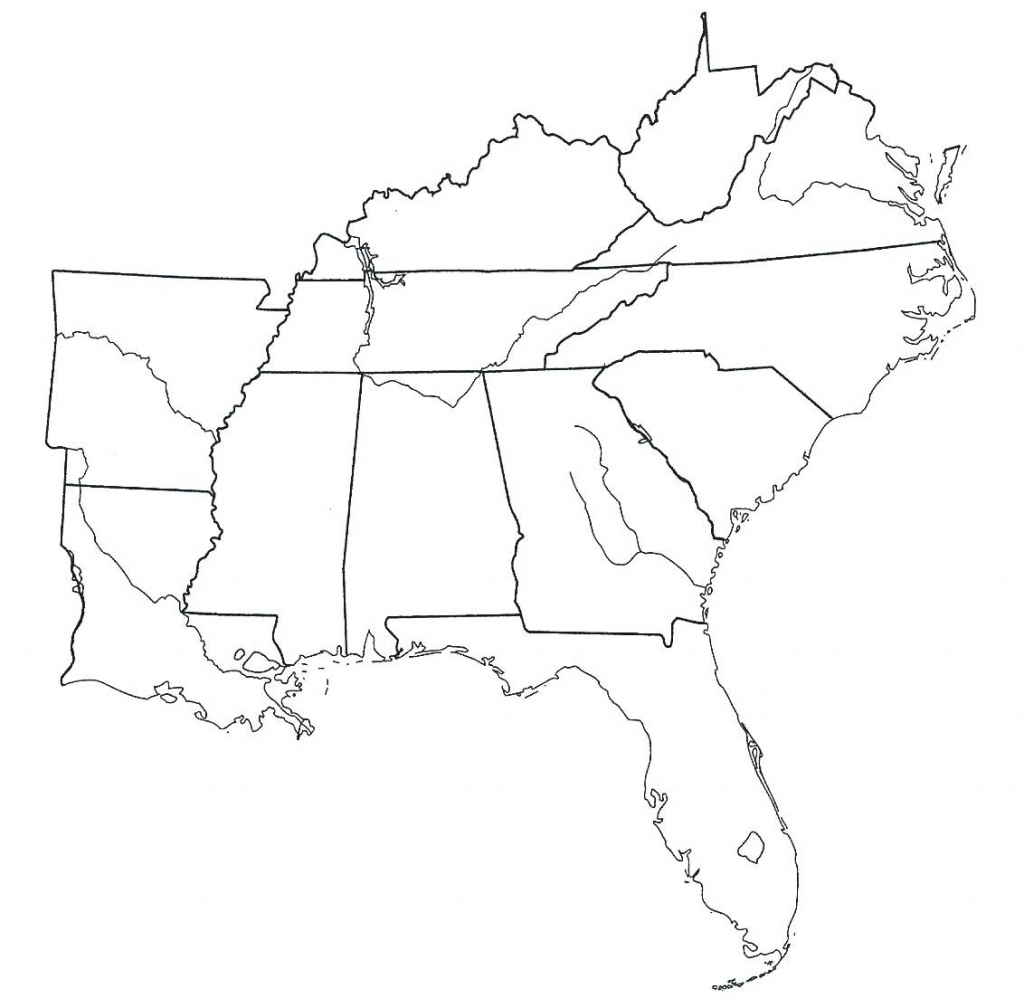 Blank Map South Subway State Southeast Region The East Printable Of | Printable Southeast Region Of The United States Map