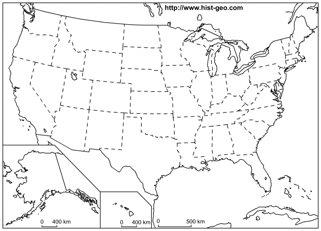 Blank Outline Maps Of The 50 States Of The Usa (United States Of   Free Printable Blank Map Of The United States Of America
