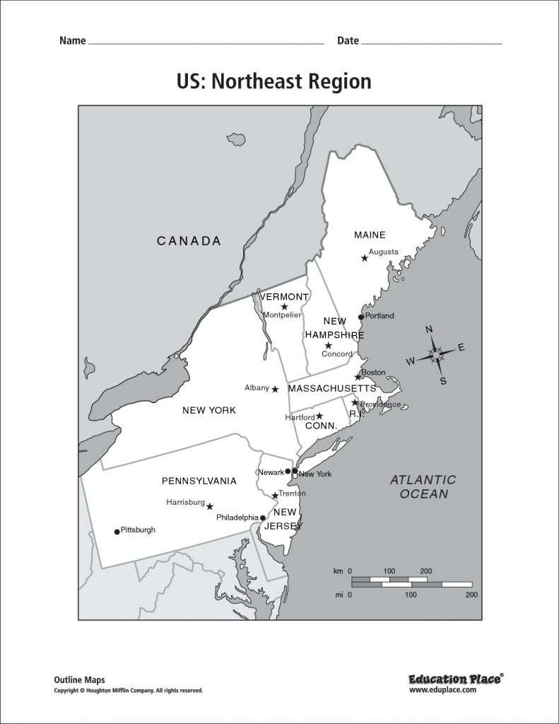 Blank Us Map Northeast Region Of Usa Highlighting In Free Printable | Printable Map Of Northeast Usa