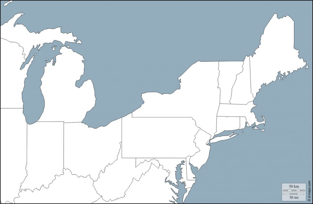 Blank Us State Map Northeast North East Usa Free Maps Outline With | Printable Northeast Us Map
