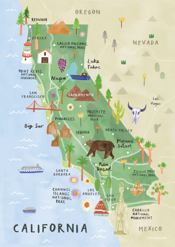 California Illustrated Map - California Print - California Map | Printable Map Of California Usa