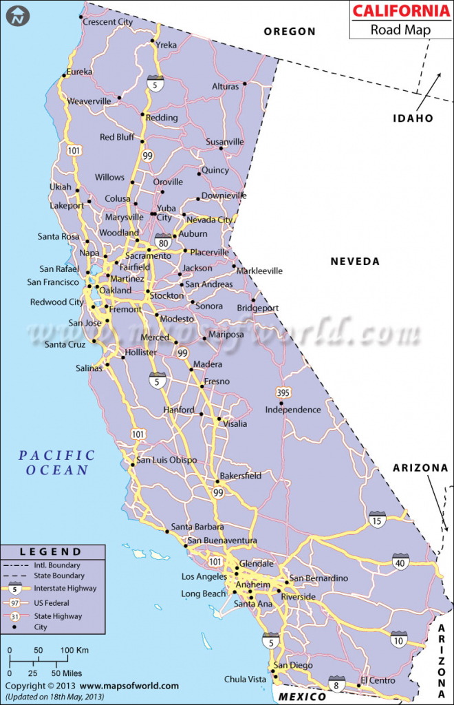 California Road Map Printable Maps Detailed Map Of California Coast | Printable Map Of California Usa