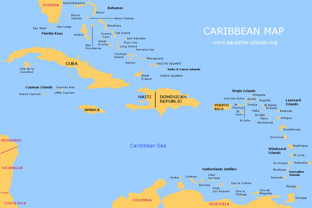 Caribbean Map | Free Map Of The Caribbean Islands | Printable Map Of Us Virgin Islands