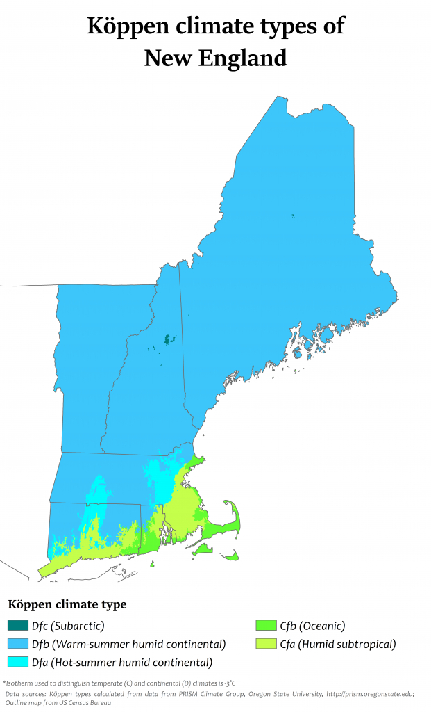 Climate Of New England - Wikipedia | Printable Map Of New England Usa