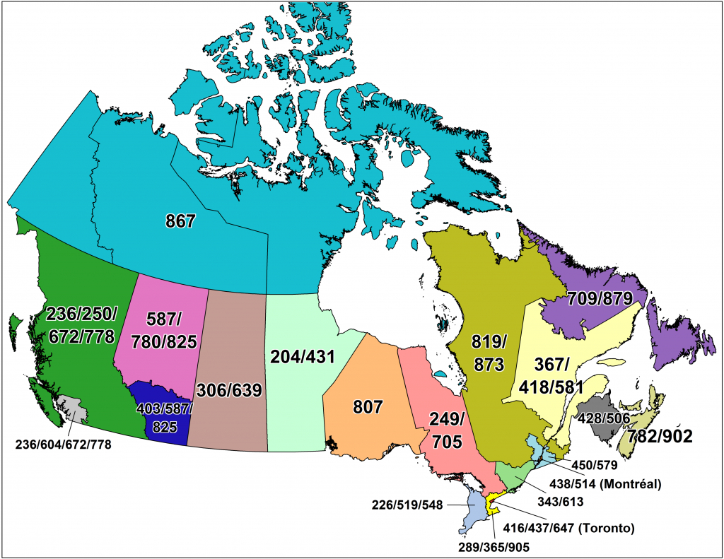 Cna -Canadian Area Code Maps | Printable United States Area Code Map