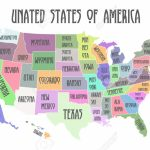 Colored Poster Map Of United States Of America With State Names | Printable Map Of The United States Of America