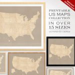 Custom Travel Maps Printable Us Travel Maps Vintage United | Etsy | Printable Vintage Us Map