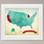 Customized Us Map Art Print / United States Map / 8X10 | 8X10 Printable Us Map