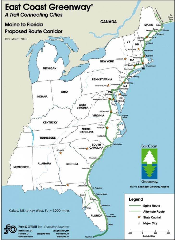 Printable Map Of Usa East Coast