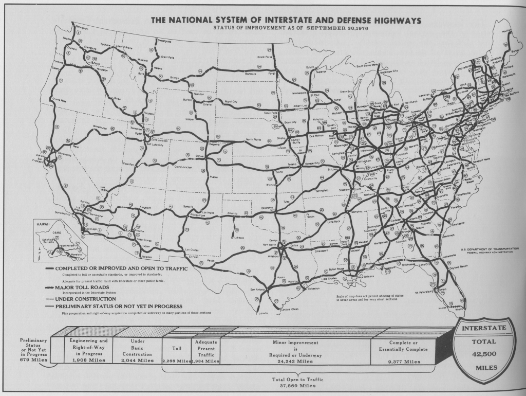 File:interstate Highway Status September 30, 1976 - Wikimedia | Printable Map Of Us Interstate System