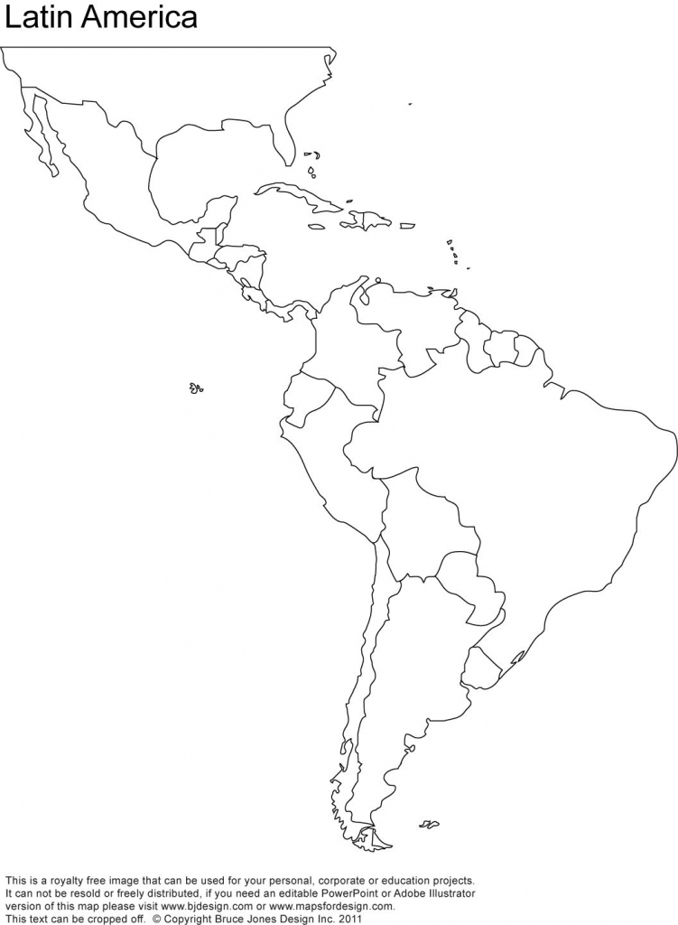 Free Blank Map Of North And South America | Latin America Printable | Printable Map Of North America Continent