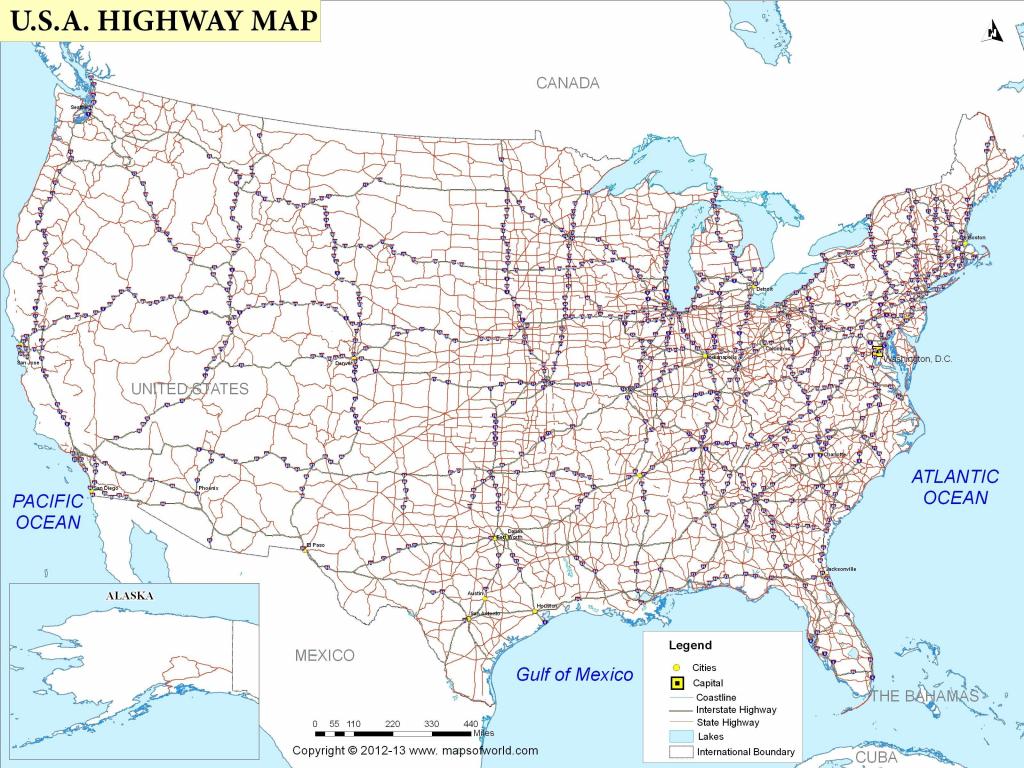 Free Printable Us Highway Map Usa Road Map Luxury United States Road | Free Printable Road Map Of Usa
