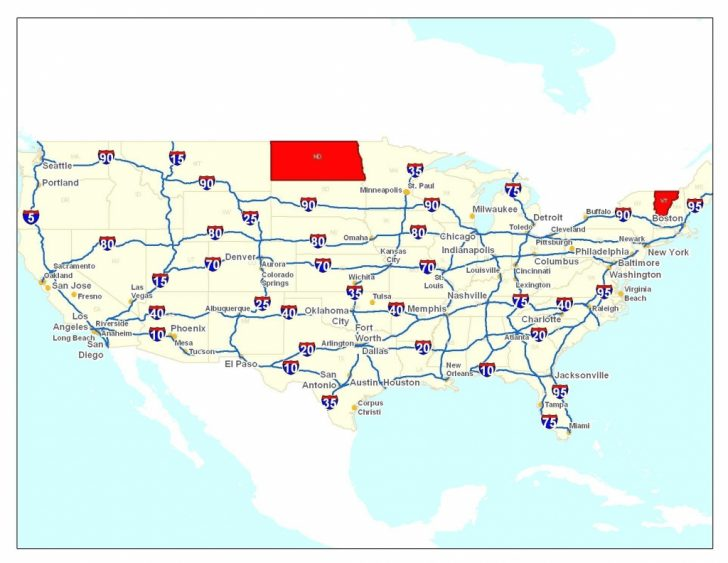 Printable Us Map With Interstates