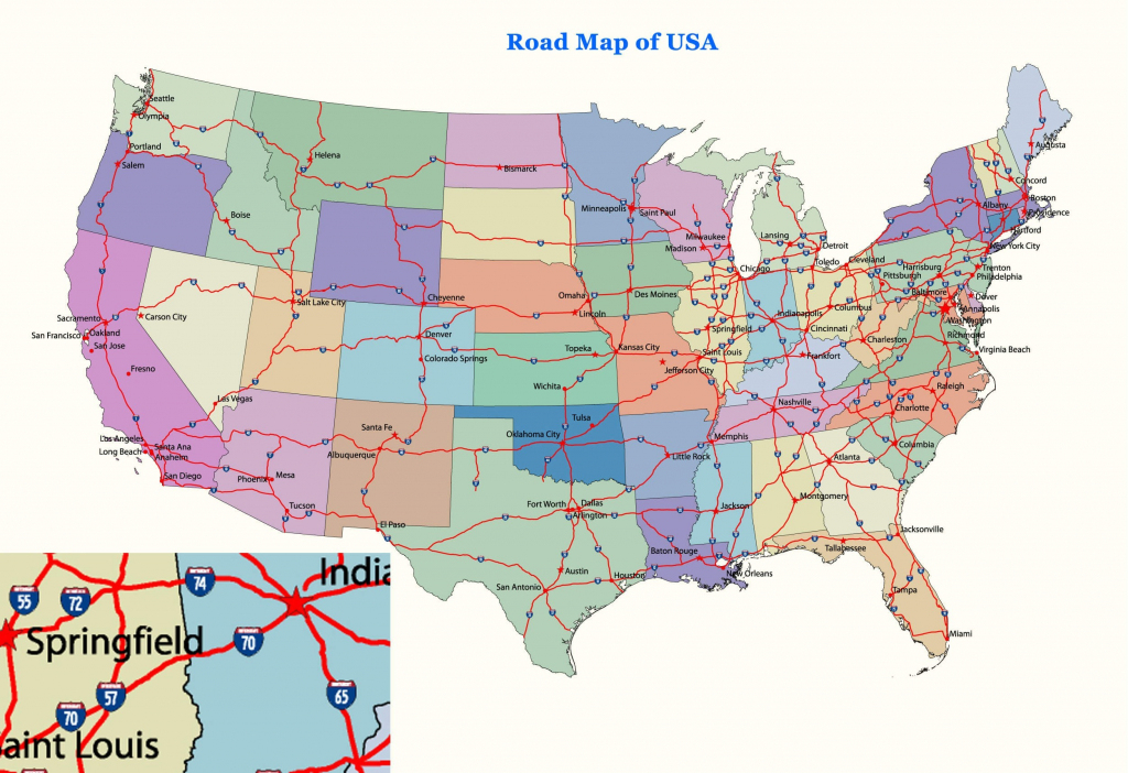 Free Printable Us Highway Map Usa Road Vector For With Random Roads | Free Printable Us Interstate Map