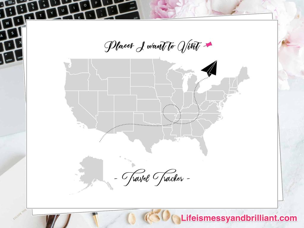 Free Travel Tracker Printable   United States Travel Map Printable