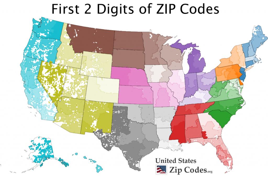 Free Zip Code Map, Zip Code Lookup, And Zip Code List | Printable United States Area Code Map