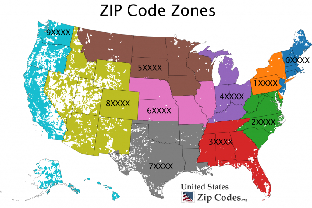Free Zip Code Map, Zip Code Lookup, And Zip Code List | Printable United States Zip Code Map
