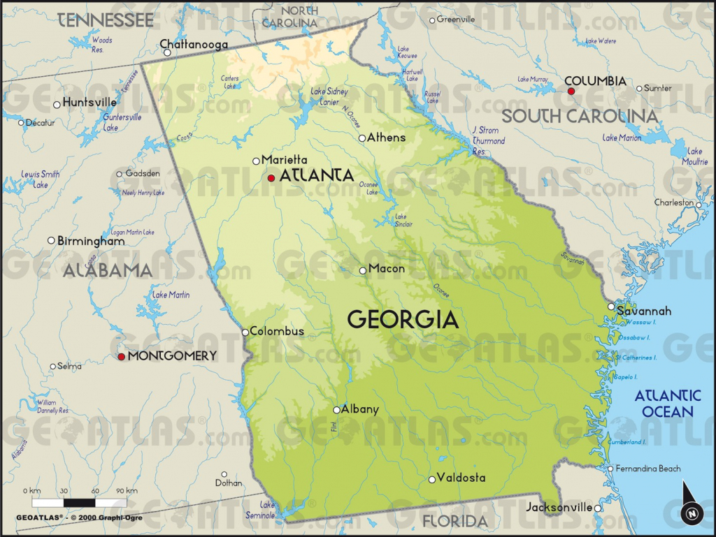 Ga Physical Lg Printable Maps Georgia State Map Images 12 Physical | Printable Map Of Georgia Usa