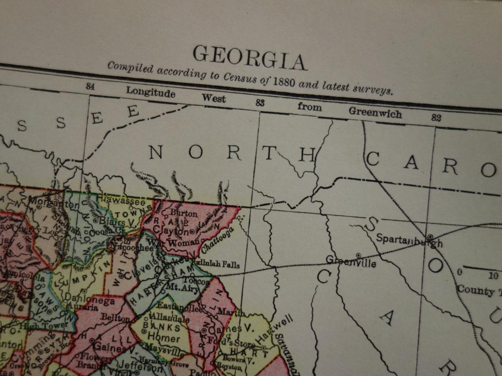 Georgia Antique Map Of Georgia State Us - Beautiful Original 1880 | 8X11 Printable Us Map