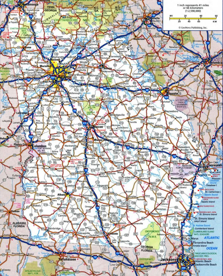 Printable Road Map Of Georgia Usa