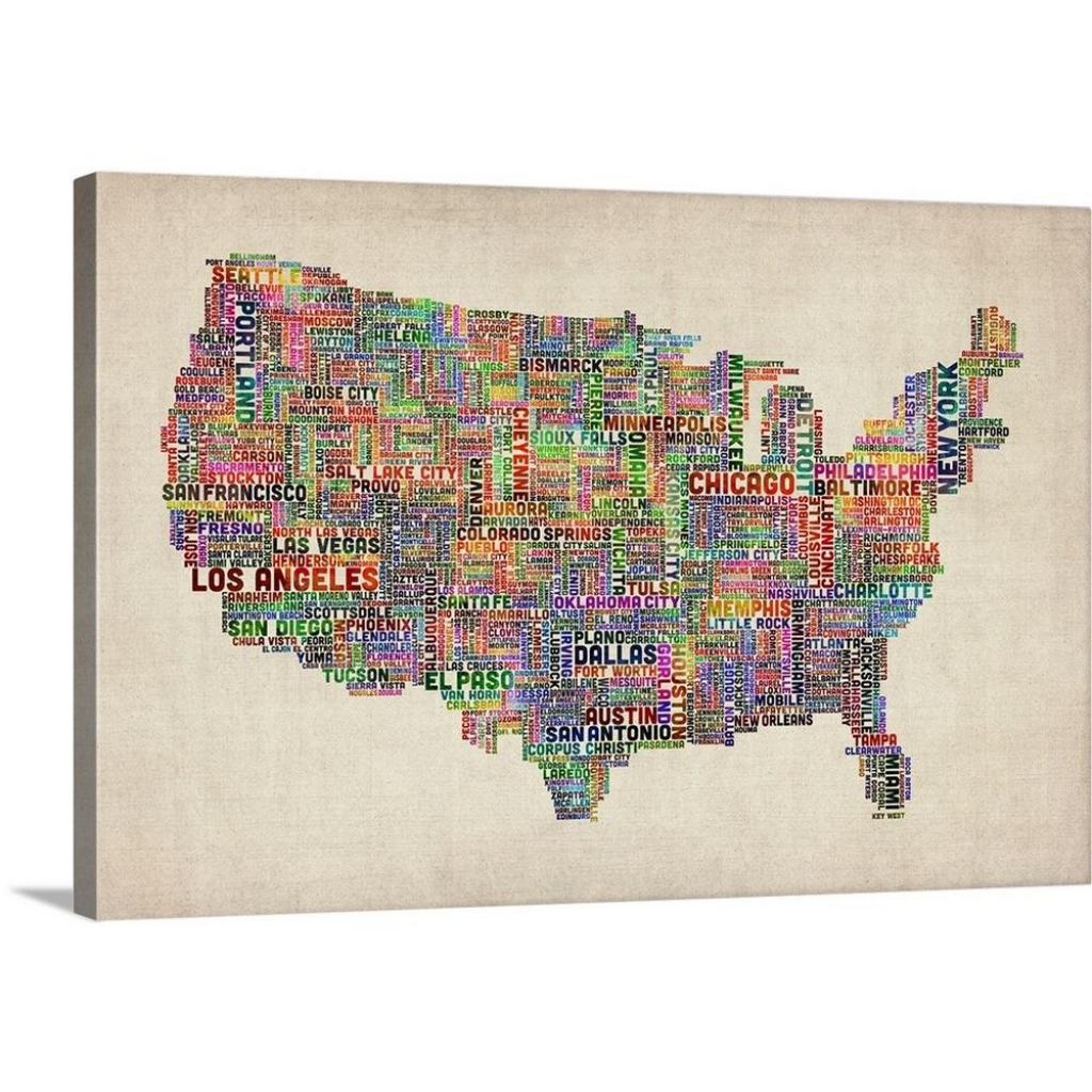 "Great Big Canvas ""united States Cities Text Map, Black And White"" 