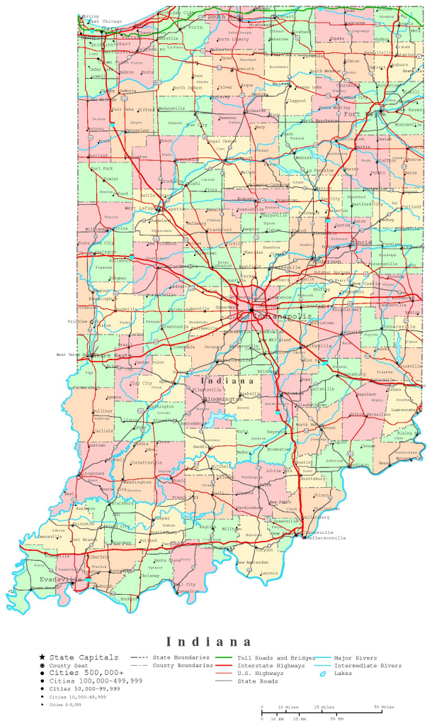 Indiana Printable Map | Printable Us Map With Counties
