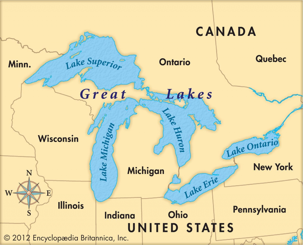 Lake Huron Location On The Us Map State Borders Printable States | Printable Us Map With Great Lakes