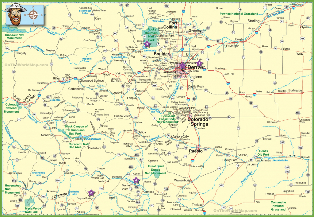 Large Detailed Map Of Colorado With Cities And Roads   Large Printable Map Of The United States With Cities