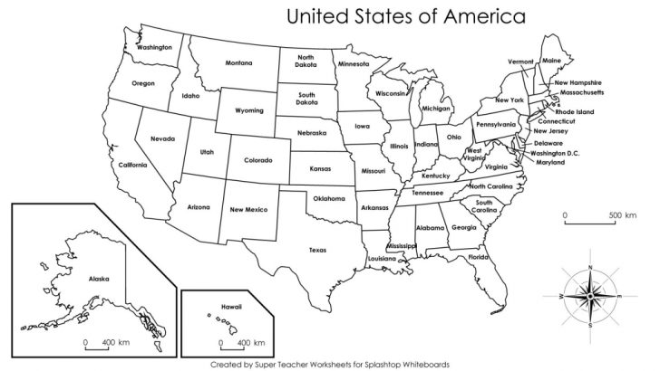 Printable Us Map No State Names