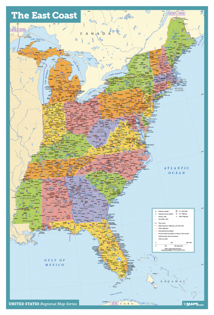 Map Of East Coast Usa States With Cities Map United States Printable | Printable Map Of United States With Cities