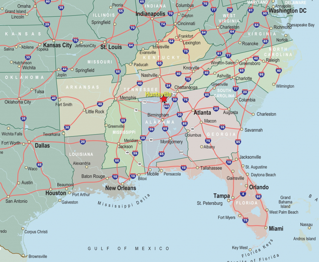 Map Of Southeast Us States - Earthwotkstrust   Printable Map Of Southern United States