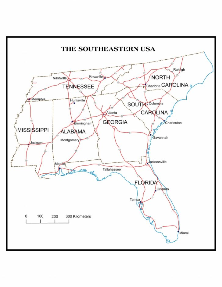 Printable Southeastern United States Map