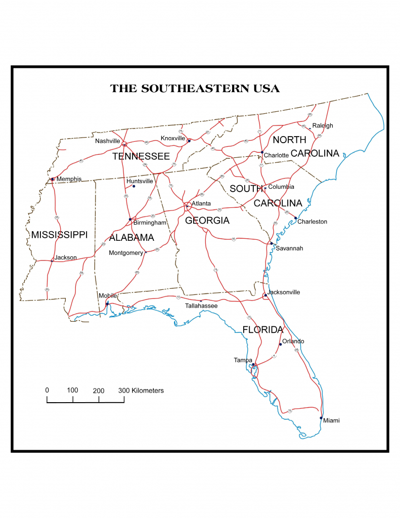 Map Of Southeast Us States - Maplewebandpc | Printable Southeastern United States Map