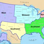 Map Of Southern United States Region And Travel Information | 6 Regions Of The United States Printable Map