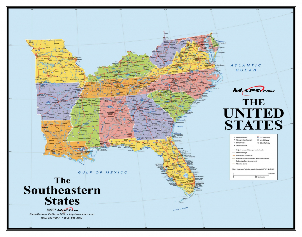 Map Of Southern United States Region And Travel Information | Free Printable Map Of The Southeastern United States