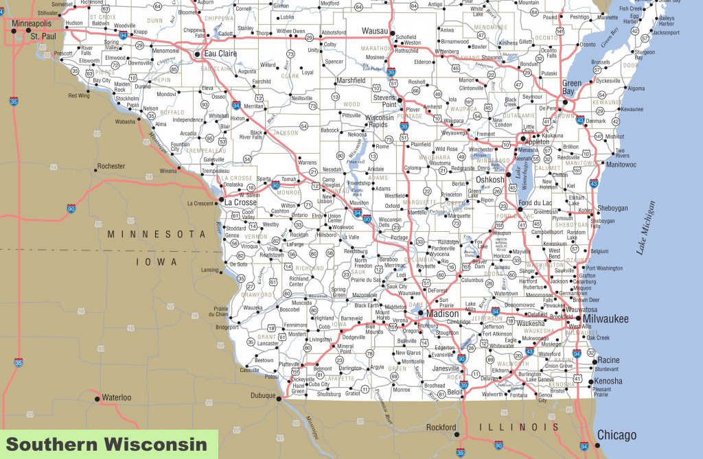 Map Of Southern Wisconsin | Printable Map Of Southwestern United States
