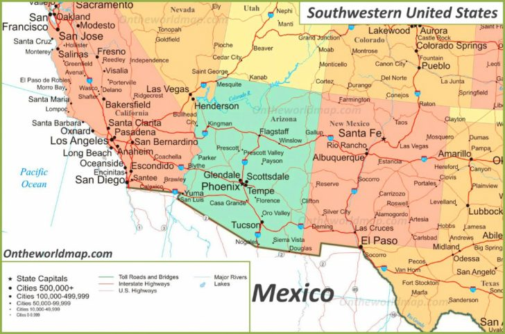 Printable Map Southwest United States