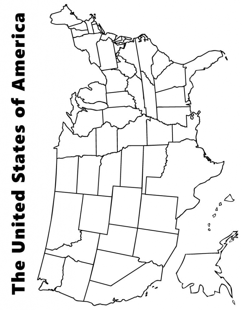 Map Of The Usa Coloring Page   Kids   Us State Map, Map Worksheets   Printable Picture Of The United States Of America Map