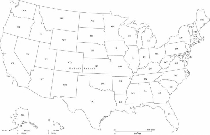 Printable Map Of The United States With Abbreviations