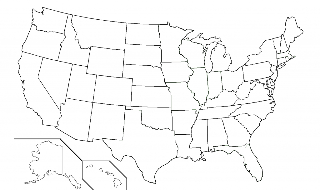 Map Us State Borders Printable Blank Outline Usa With United At 50 | Blank Us Map With Borders