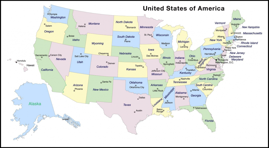 Map With State And Capitals And Travel Information | Download Free | Printable Usa Map With States And Cities