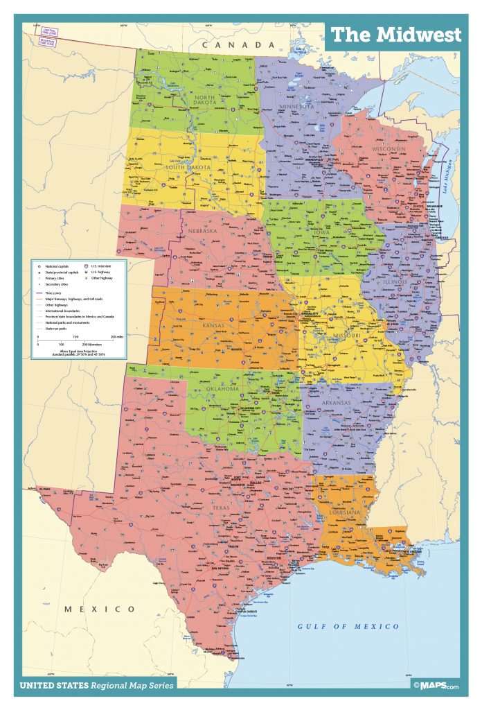 Midwest Wall Map - Maps | Printable Map Of Midwest Usa