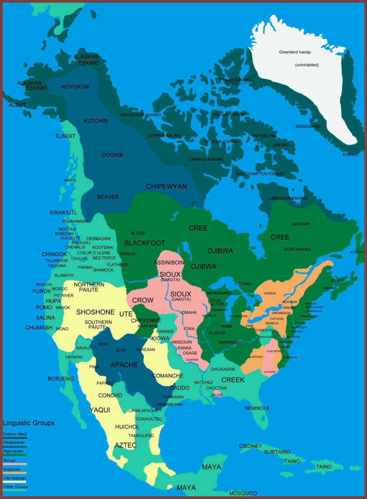 Native Indians Of North America Linguistic Map | Classroom Ideas | Printable Map Of Native American Regions
